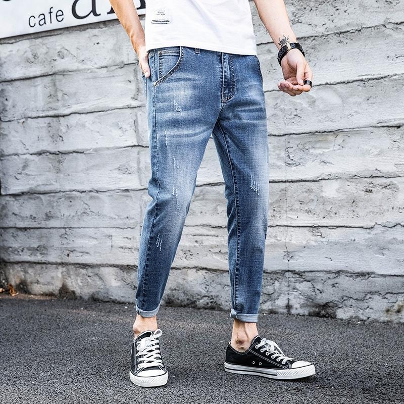 GoiNr мужского стиля стрейч тонкие корейские брюки бры девять-точки ноги все-матч молодежных весенние и летние джинсы и джинсы Ins модных мужчин