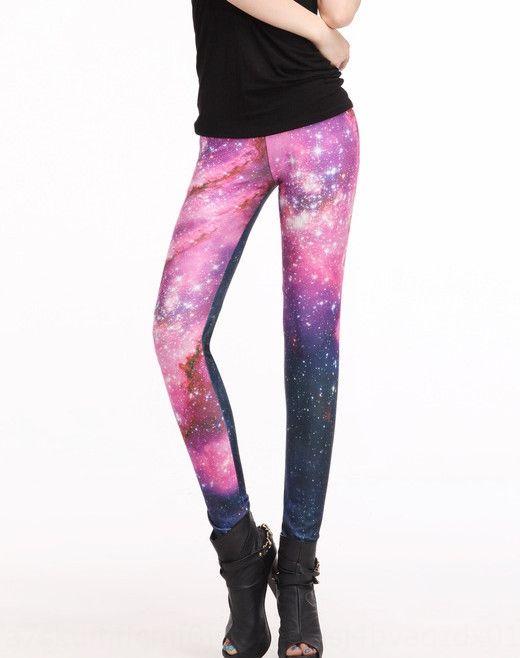 Glossy digital printing Galaxy rose red pants Digital tight pants tight sexy leggings Lgs3010