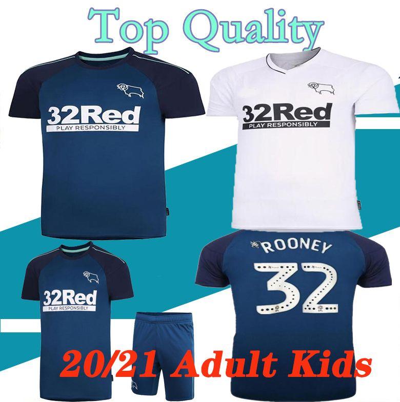20 21 Derby County Football Club jerseys del fútbol 2020 2021 INICIO SABIDURÍA camiseta de fútbol Waghorn MARTIN HAMER ROONEY del fútbol uniformes de los hombres + niños
