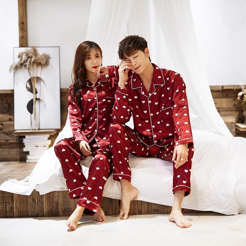 Весной и осенью пара мужских и женских померкшими пижамы пижамы шелка с длинным рукавом кардиган толстый дамский костюм Корейский стиль открытый износ дома с