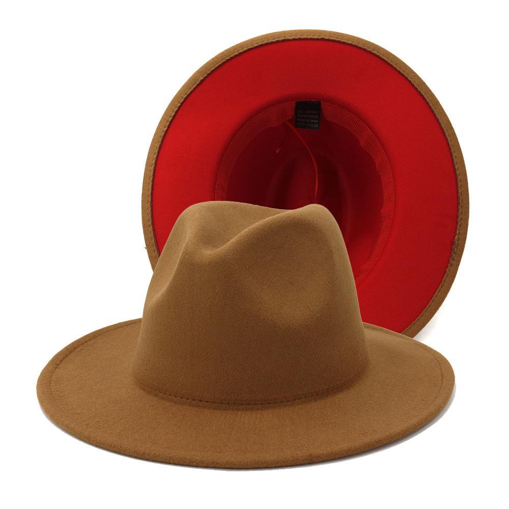 Atacado lã Brown Red retalhos de feltro Jazz Fedora Hats Women Men Double-Sided Color Matching Ladies Bowler Hat Panamá