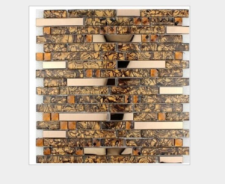 2020 venta caliente Material de construcción pegar alambre de acero del azulejo de mosaico fondo de la pared del mosaico de acero de oro mosaico de 300 mm * 300 mm M007