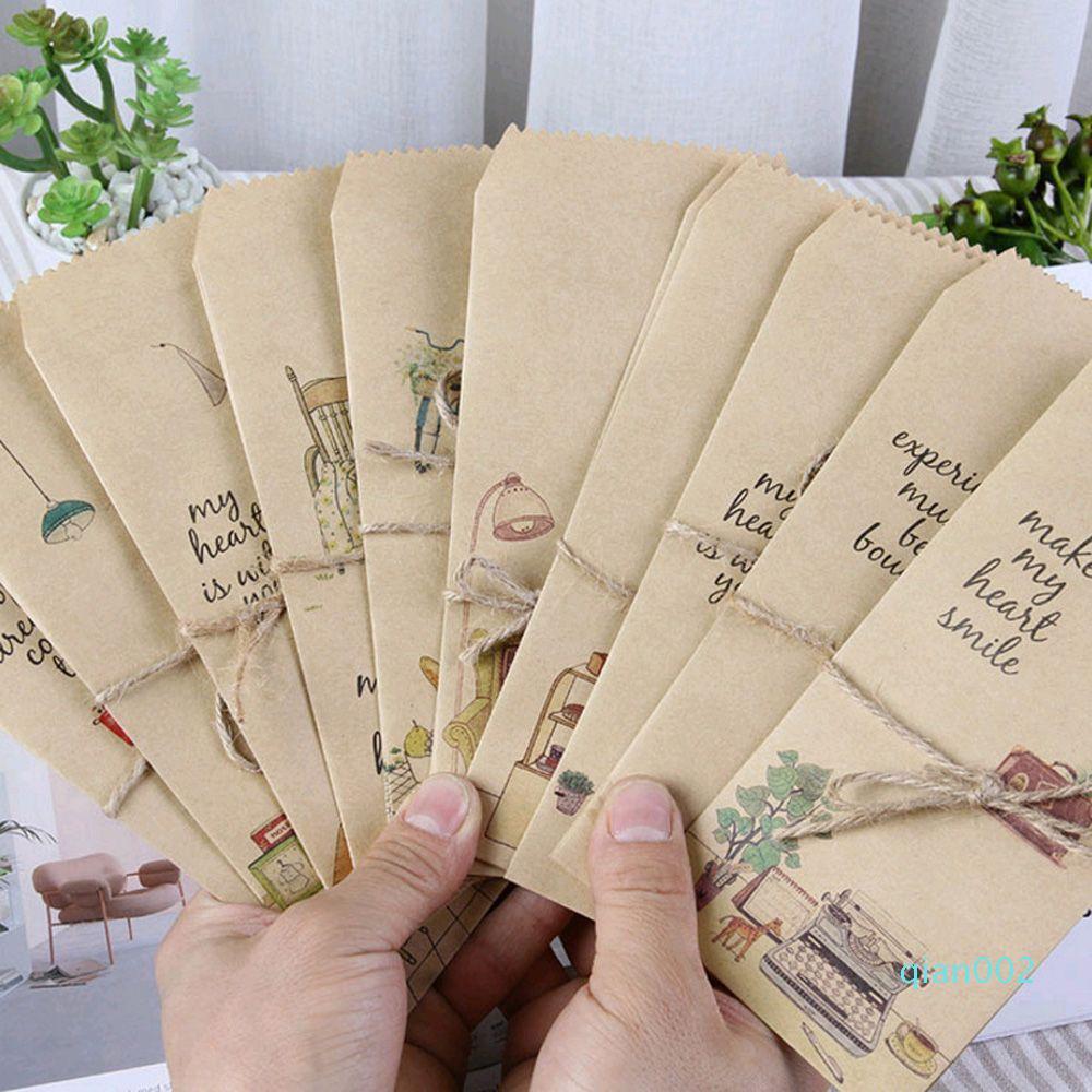 5pcs / lot vie simple enveloppe 8.5 * 19.5cm Carte postale de mariage de carte d'invitation papier sac Lettre papier couverture Wages bureau Papeterie