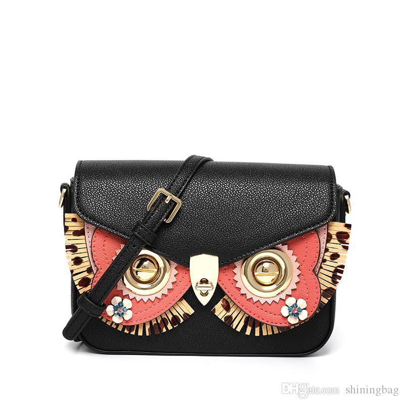 Женские сумки дамы модельером филин плече сумка молодежная раскладушка сладкий ветер черный простой Кроссбоди мешок подарок 8007-1