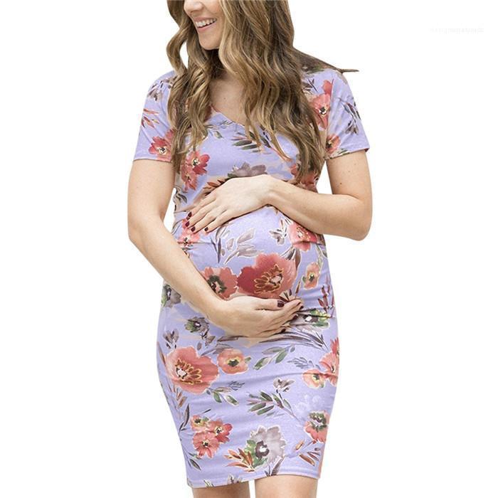 مصمم قصيرة الأكمام الرقبة الطاقم خطوة واحدة فساتين الإناث اسلوب جديد الملابس النسائية الحوامل الزهور Frint اللباس الصيف
