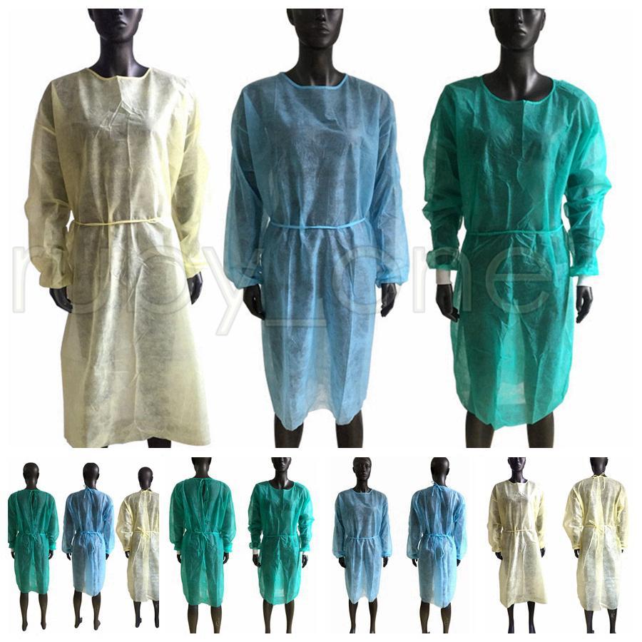 부직포 보호 복 일회용 절연 가운 의류 안티 먼지 야외 보호 복 일회용 비옷 RRA3534 정장