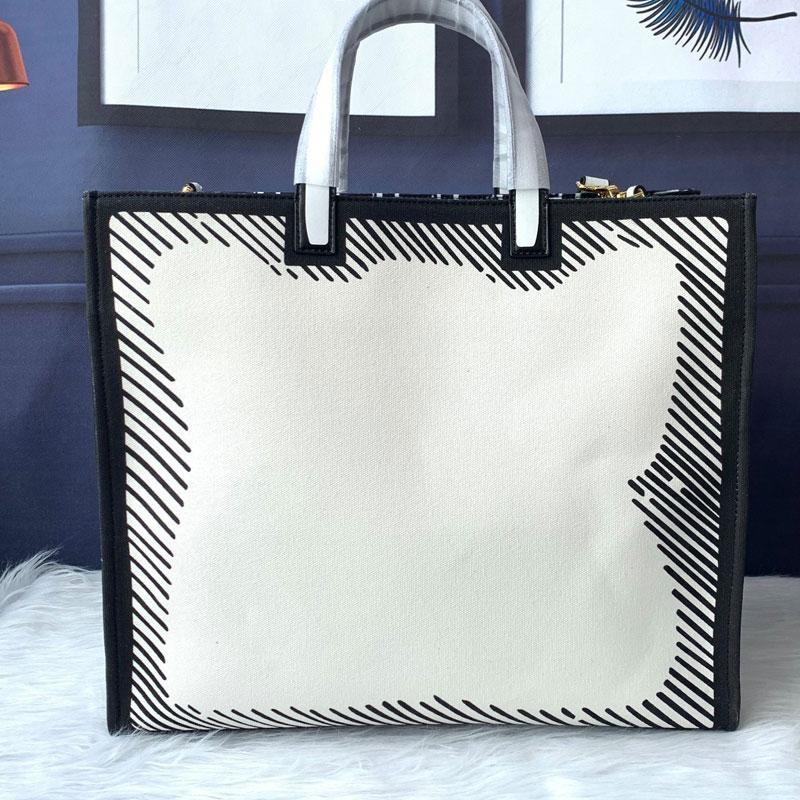 Kalite Çanta Kadınlar Tuval Çanta Tote Kontrast Moda Çanta Grafik Yüksek İç Cep Çanta Metal Büyük Paket Kapasitesi Zip Altın VKHBM