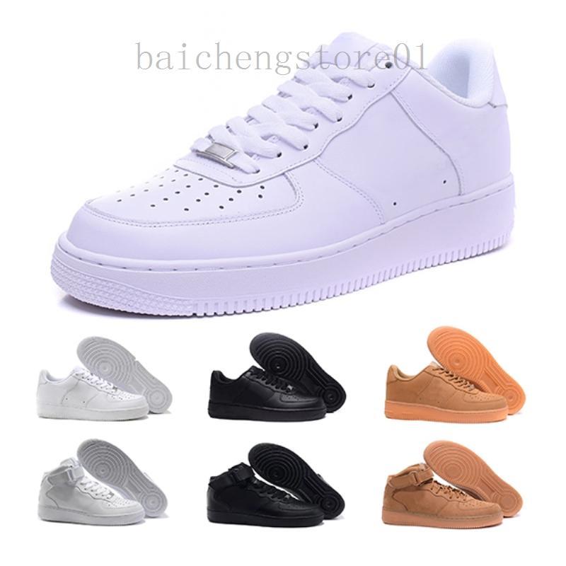 2020 Deri AF1 Cork Dunk Yeni Klasik 1 Beyaz Siyah Düşük Yüksek Kesim Erkek Kadın Sneakers Paten Ayakkabı Bir Koşu Ayakkabı Boyutu 36-46 BN52V