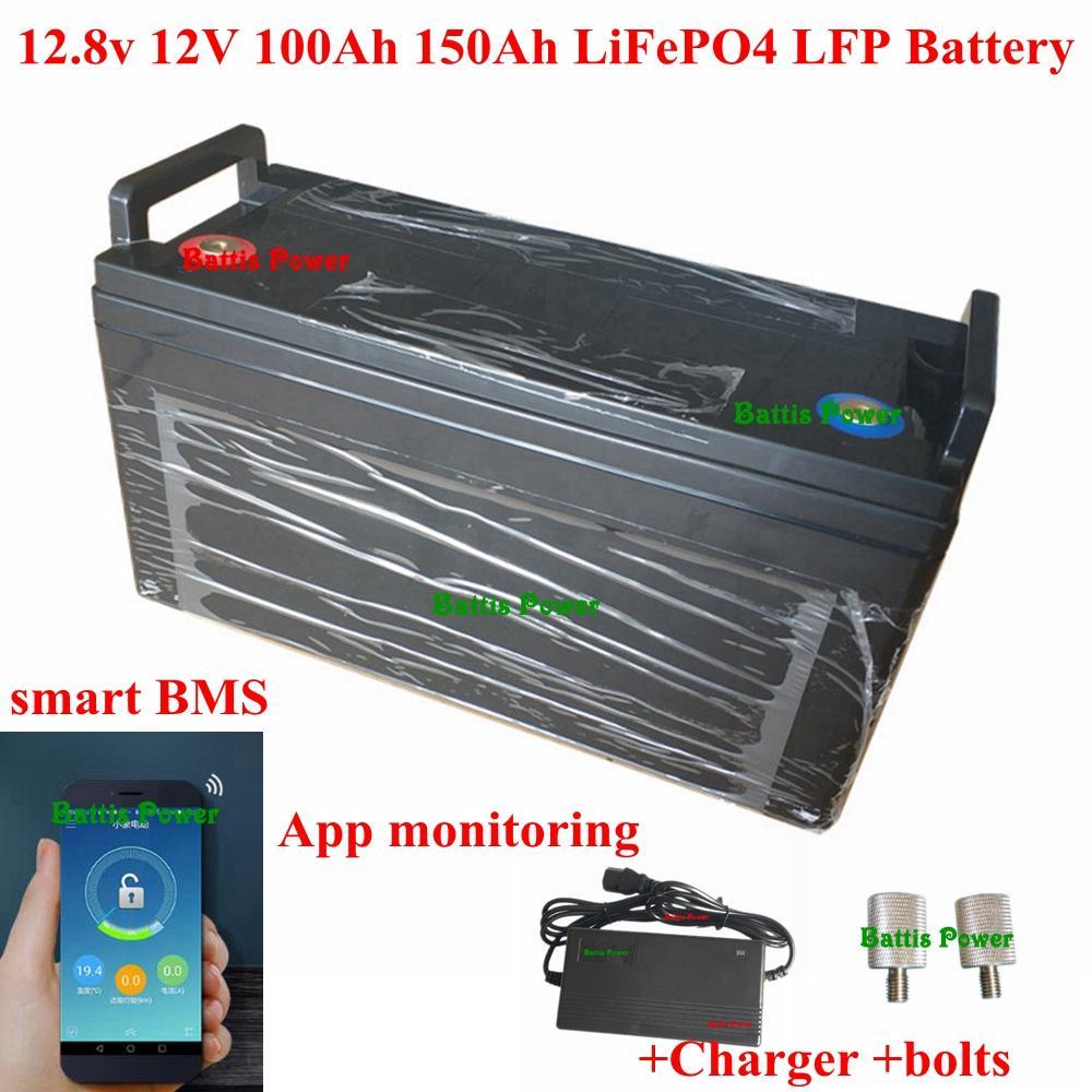 12,8 V 12 V 100 Ah 120 Ah 130Ah 150Ah LiFePO4 batería inteligente LFP BMS 60A aplicación bluetooth para motor Barco ups de energía solar + cargador 10A
