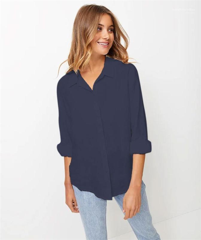 سترة واحدة اعتلى الإناث قميص جديد وصول المرأة نقي اللون بلوزة كم طويل فضفاض الإناث القمم