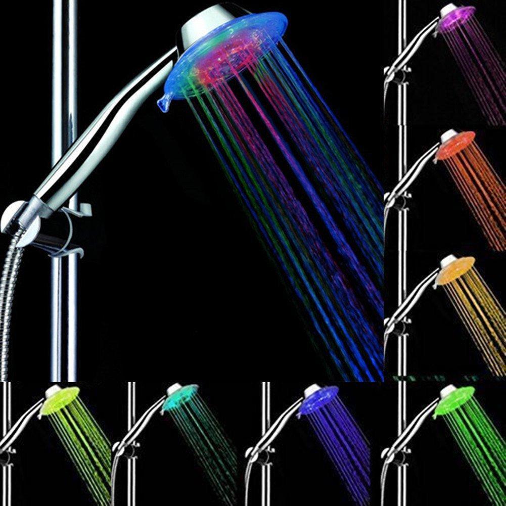 색상 변경 샤워 헤드 핸드 헬드 LED 3 물 모드 7 색 광선 조명 자동 변경 LED 핸드 샤워 헤드