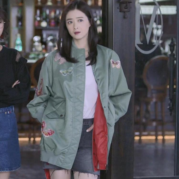 6OwpT kBmer Se il tempo può tornare indietro Jiang Xiaomei Jiang farfalla stesso Windbreaker Xin farfalla verde ricamato di lunghezza media wo cappotto per t