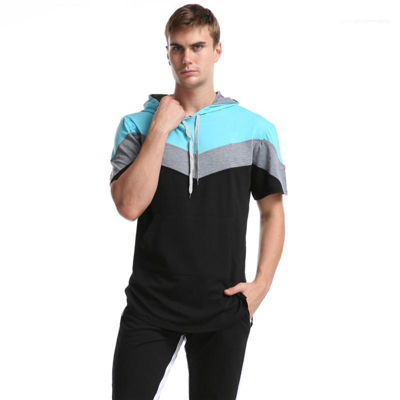 Stile di sport con cappuccio da uomo T casuali Mens Abbigliamento Estate del progettista del Mens magliette con pannelli geometrica manica corta Stampato