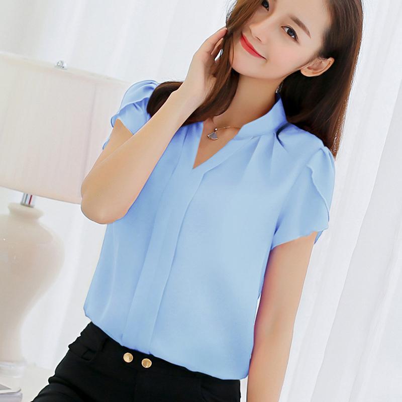 Gaoke Blusa Chiffon mulheres e camisas das senhoras elegantes Formal Escritório Blusa Mulher Mulheres Roupa Plus Size XXXL