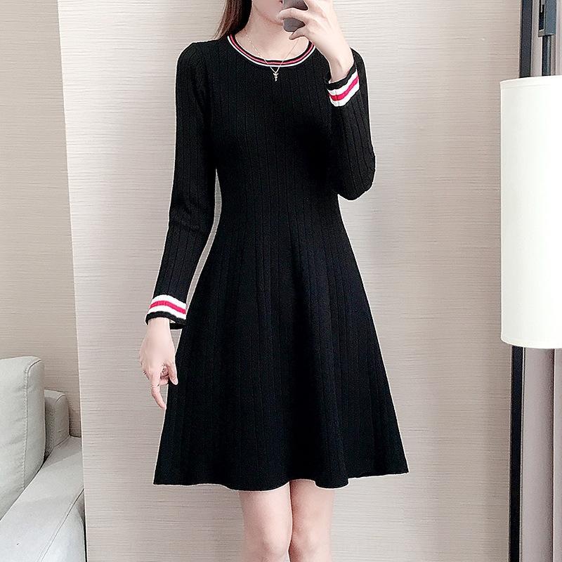 UjSVp m7YxY трикотажное долго осень и зима женщин Новый 2020 Приталенный основывая женщин средней длины платья skirt- линия свитер платье для вязать