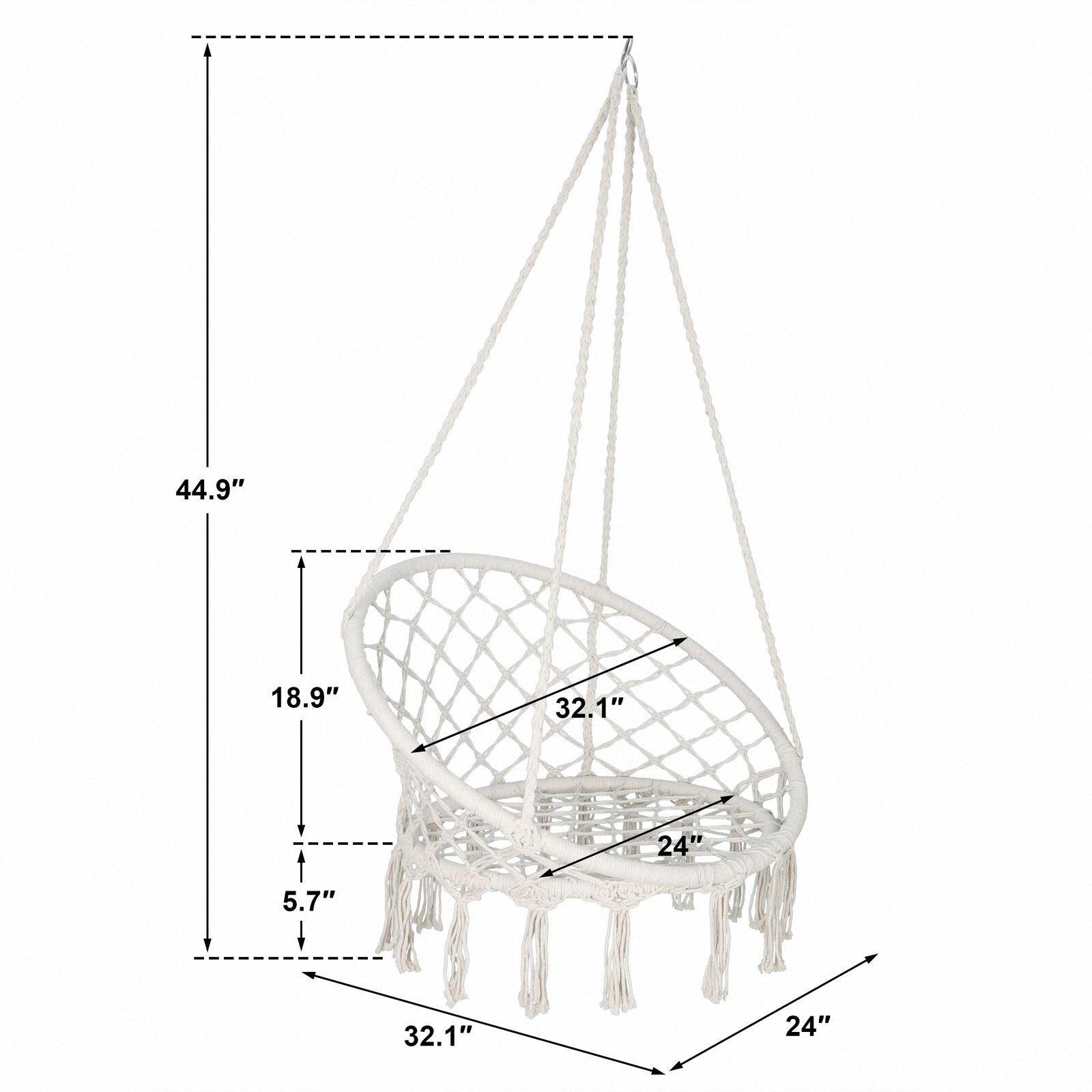 Бежевый Висячие Хлопок Веревка Макраме Гамак кресло Свинг Открытый Крытый GQRj #