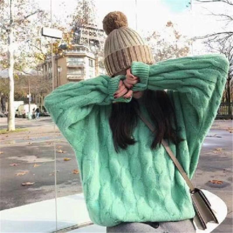 MRDoY patrón 2020 de la torcedura jersey de cuello redondo nueva cáñamo otoño suéter para las mujeres muchacha del estilo flojo dulce del todo-fósforo suéter