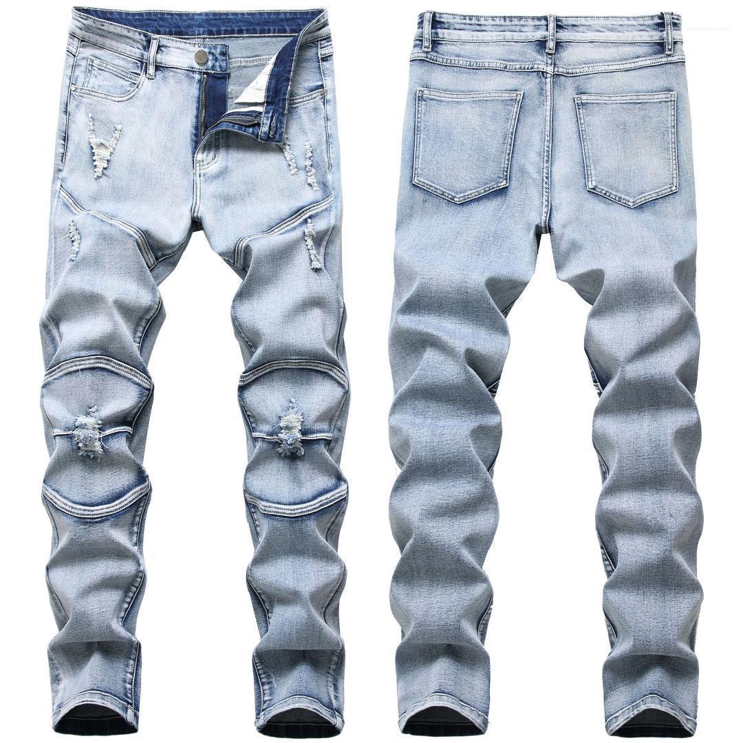 Işık Yıkama Yıpranmış Erkek Giyim Elastik İnce Delik Erkek Jeans Moda Açık Mavi Günlük Erkek Pantolon Kıvrımlar