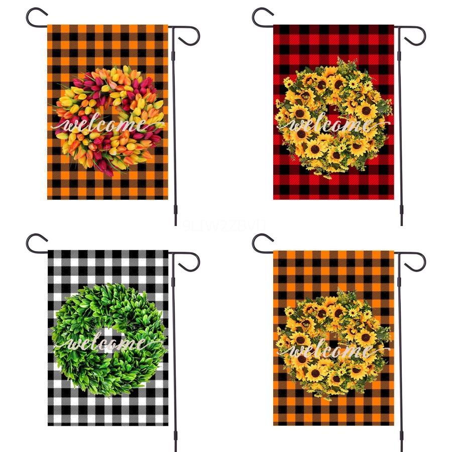 Motivo della bandierina di modo stampa fronte-retro Bandiere decorazione del giardino all'aperto Bandiera per Ghost Bat Flower # 890