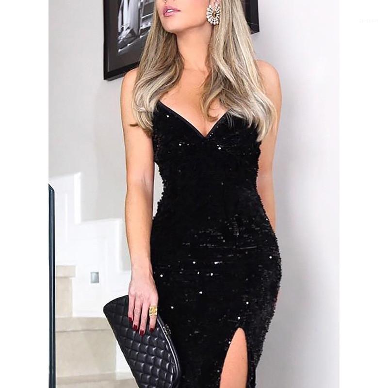 Paneles para mujer de la correa de espagueti maxi vestidos casuales hembras Ropa Sexy cuello en V para mujer vestidos casuales de la moda de las lentejuelas de Split