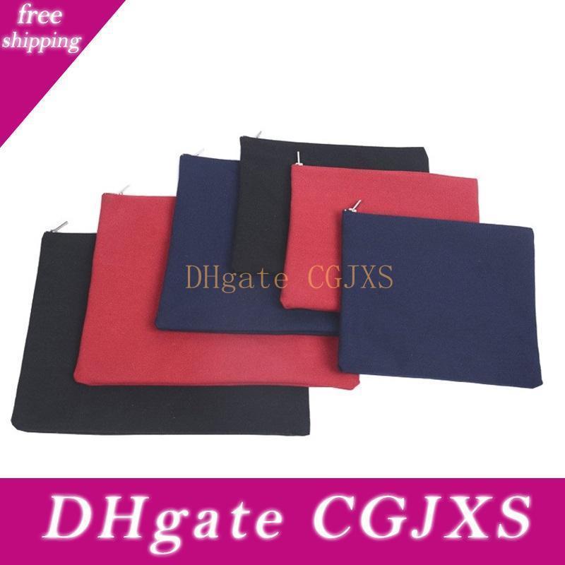 Новые пустой холст сумка Простой Solid Colors Файл Карманный Металл Zipper Чистую Стиральную Хлопок воды Сумки для хранения горячей продажи 4 3ky