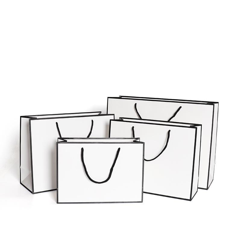 البيضاء أكياس الورق الحالية بطاقة كرافت التعبئة والتغليف كيس من القماش الأزياء تخزين حقيبة يد سماكة التسوق الإعلان مخصص 1 86gr B2