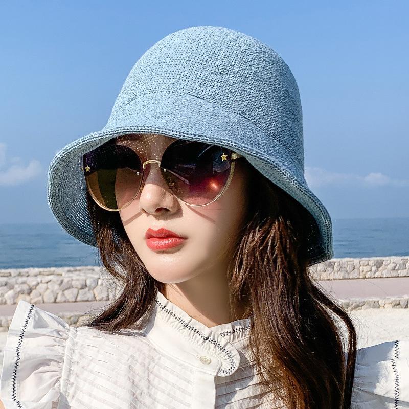 Bucket Hat Женщины Пастель лето соломенной шляпе Путешествия Панама Женский Trend Bucket Lady Зонт дышащая Sun Caps