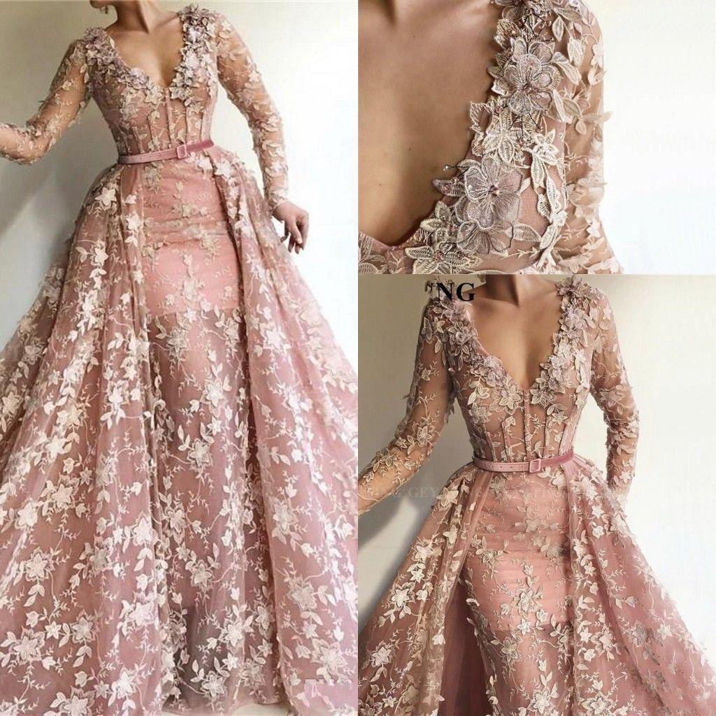 Plus Size Rosa V Neck Lace sereia Vestidos mangas compridas Applique Prom Vestidos com trem destacável formais Vestidos Wear