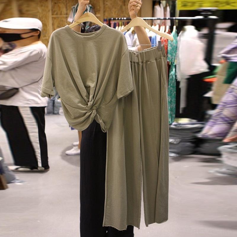 qvKd4 aD8DQ Dongdaemun 2020 pantalons T-shirt automne pantalon de couleur unie à manches courtes nouvelles casual + pantalon à jambes larges en deux parties occasionnels costume lâche
