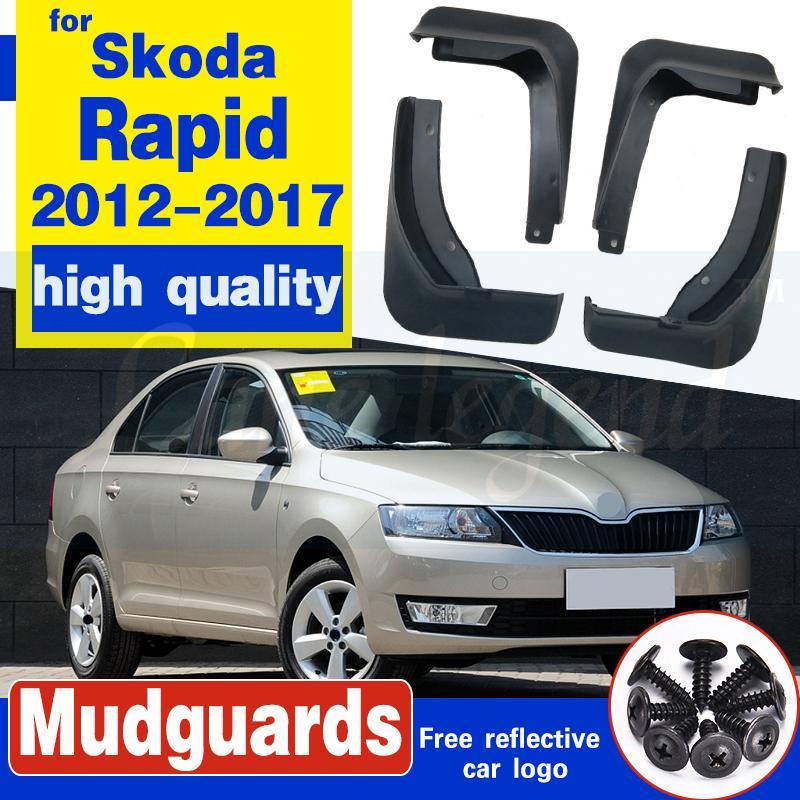 Car avant arrière Garde-boue 2012-2017 2015 Skoda Rapid Bavettes Accessoires Splash Guard Car-Styling Garde-boue 1Réglez boue Rabats