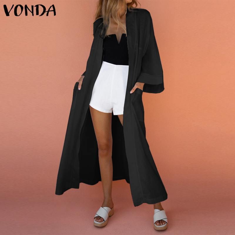 Женские блузки рубашки длинные блузки женщины весенние рукава кардиган вскользь 2021 Vonda женские топы плюс размер S-5XL
