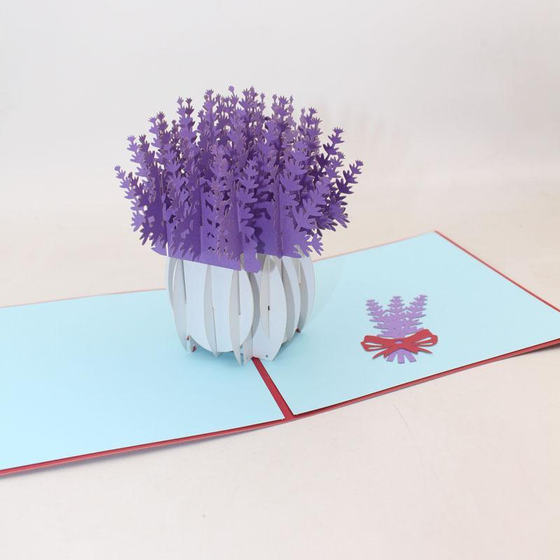 laser 3D Pop Up Cut Amore lavanda Fiori Biglietti d'auguri giorno inviti di trasporto di carte di compleanno di nozze di San Valentino