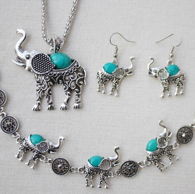 Turchese Retro Elephant insiemi dei monili Bracciale pendente dell'orecchino 925 di moda collana fascino amuleto per Uomini Donna Bambini Regali