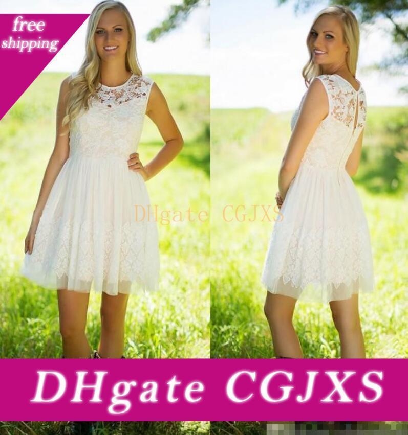 2019 Breve merletto pieno Bridesmiad Dreses Plus Size ginocchio lunghezza Garden Country Wedding Guest promenade del partito di abiti damigella d'onore veste