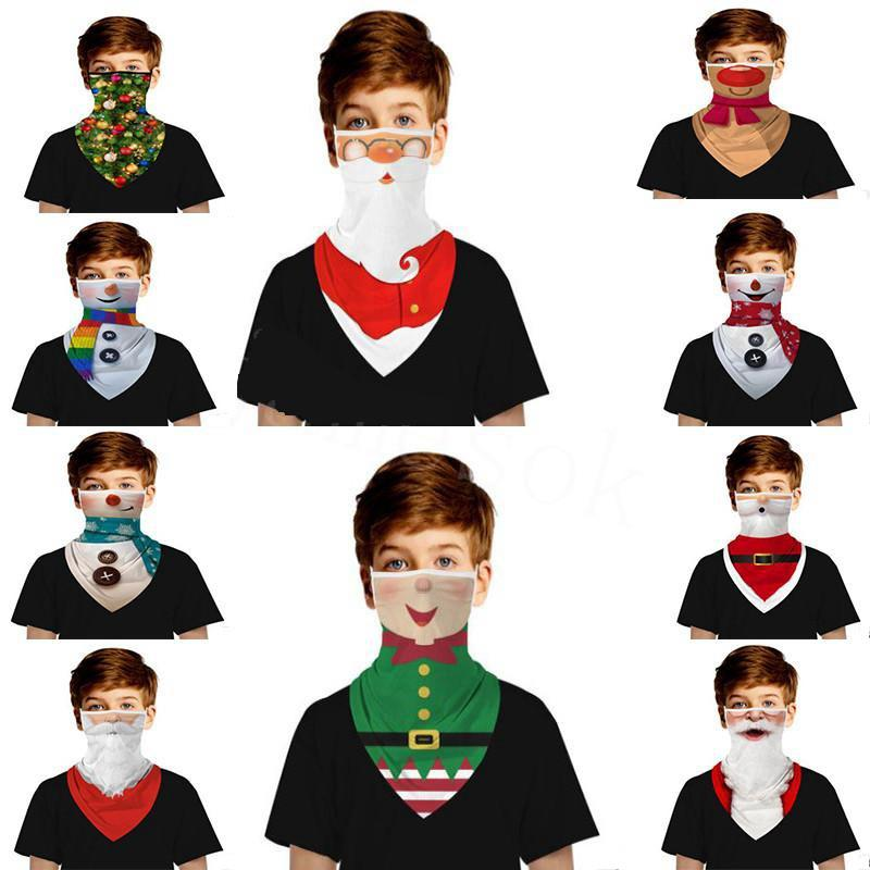 Noel 3D Dijital Baskı Maske Çocuk Kulak Üçgen Eşarp Doğa Sporları Koruyucu Nefes Yüz Maske Parti Malzemeleri IIA527
