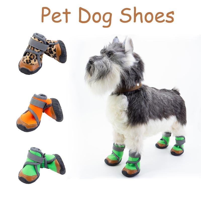 4шт / комплект Pet Обувь для собак 8sizes водонепроницаемый собак обувь дышащая сетка / теплая зима Собака сапоги с мягкой резиновой подошвы для Тедди