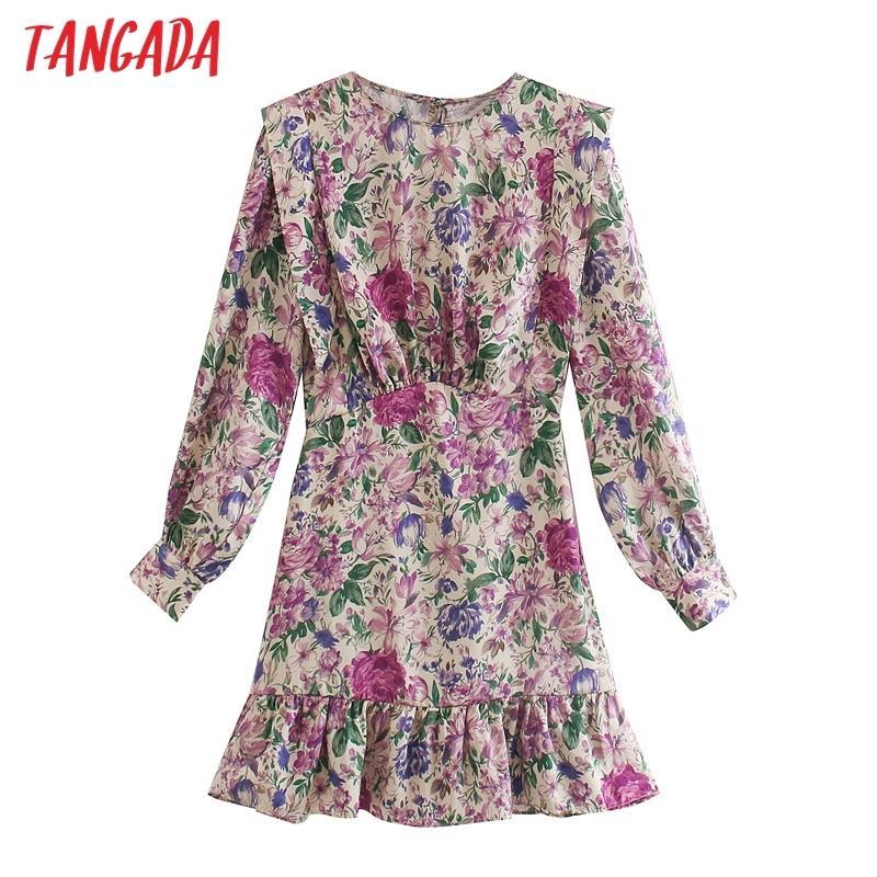 Tangada 2020 Sonbahar moda kadın çiçek baskı mor elbise uzun kollu ofis bayanlar mini elbise 3H125 C200919