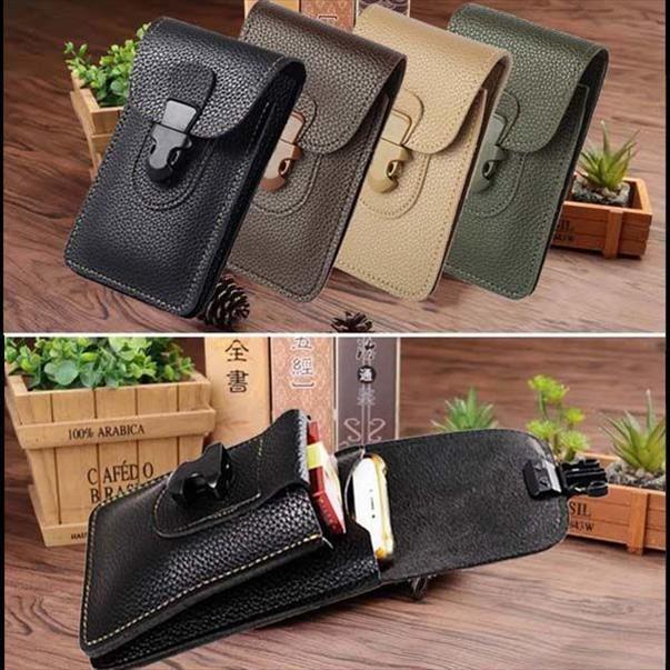 Men Leather Waist Bag Cell Mobile Phone Coin Purse Pocket Belt Bum Pouch Pack Vintage Hip Bag Case For iPhone Waist Bags