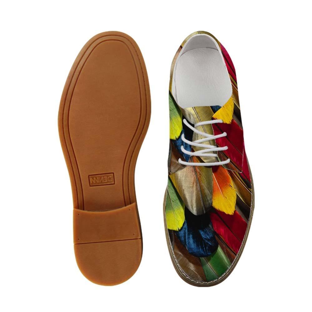 Erkek İş Elbise ayakkabı Renkli Kuş Tüy Baskı Man Casual Deri Oxfords ayakkabı ayakkabının ayağa Boy Düz Boş Dantel