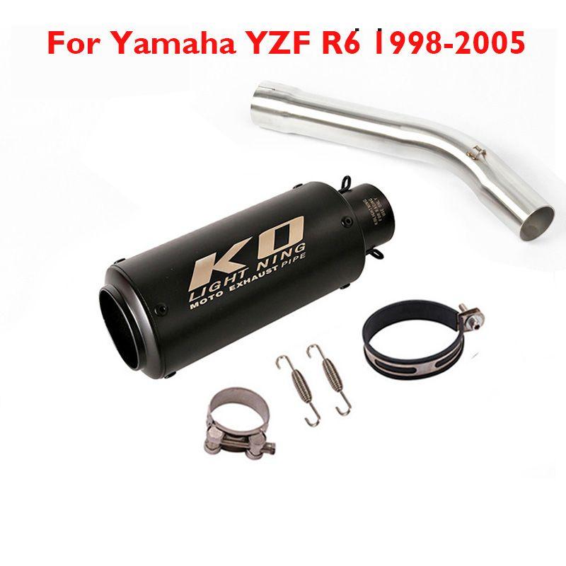 R6 Système d'échappement moto échappement Silencieux tuyau modification Moyen Moyen Lien Tuyau pour YZF R6 1998-2005