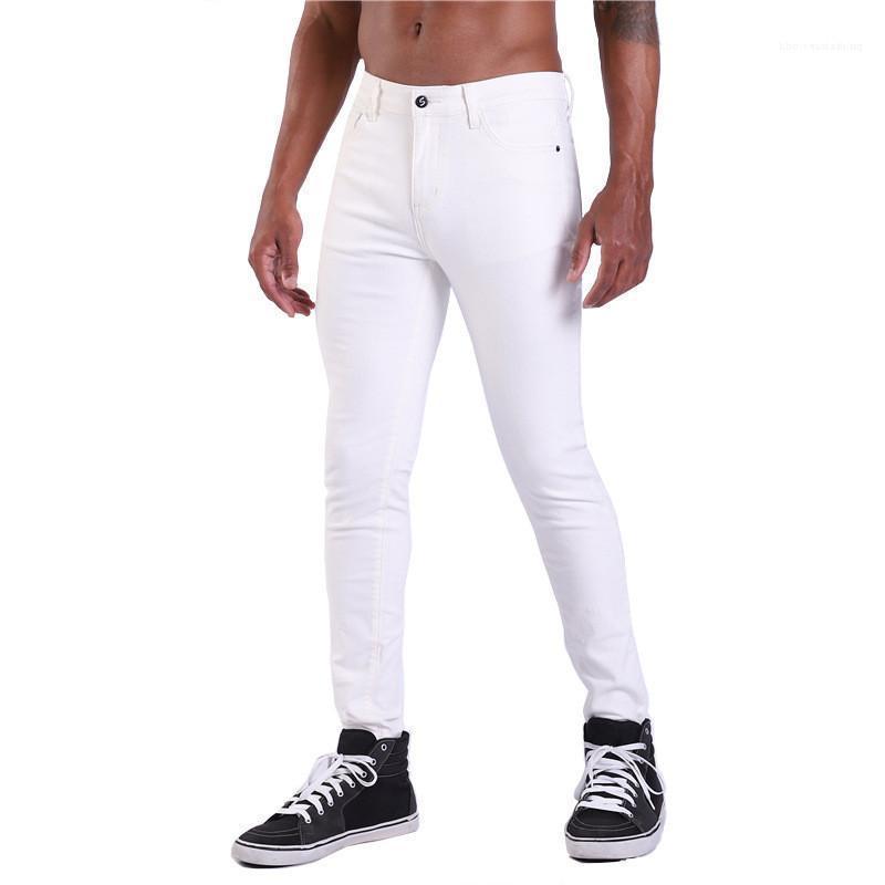 Weiße Jeans Fashion Sommer Zipper beiläufige Bleistift-Hosen-dünne mittlere Taille Jeans Männlich Kleidung Herren Designer