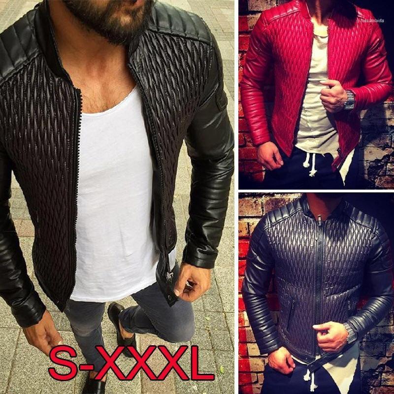 ربيع الخريف بأكمام طويلة الرجال معاطف لون الصلبة ملابس رجالي بو سترة جلدية مع سحاب جيب