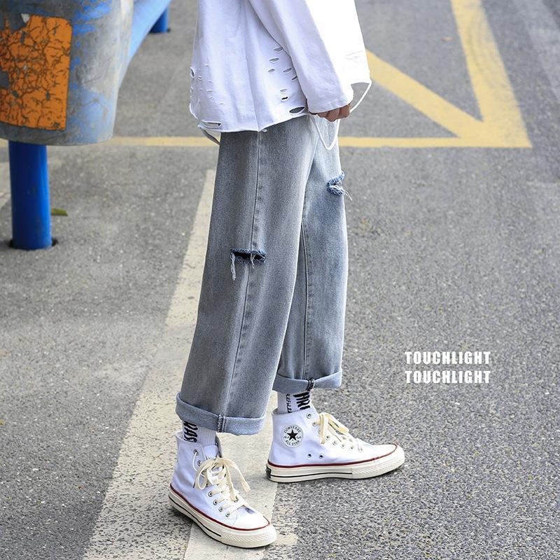 zTzfL F2dco jambe mode célébrité Internet 9 points Jeans style coréen Jeans hommes trou de marque lâche tendance droite large pantalon large jambe d'été