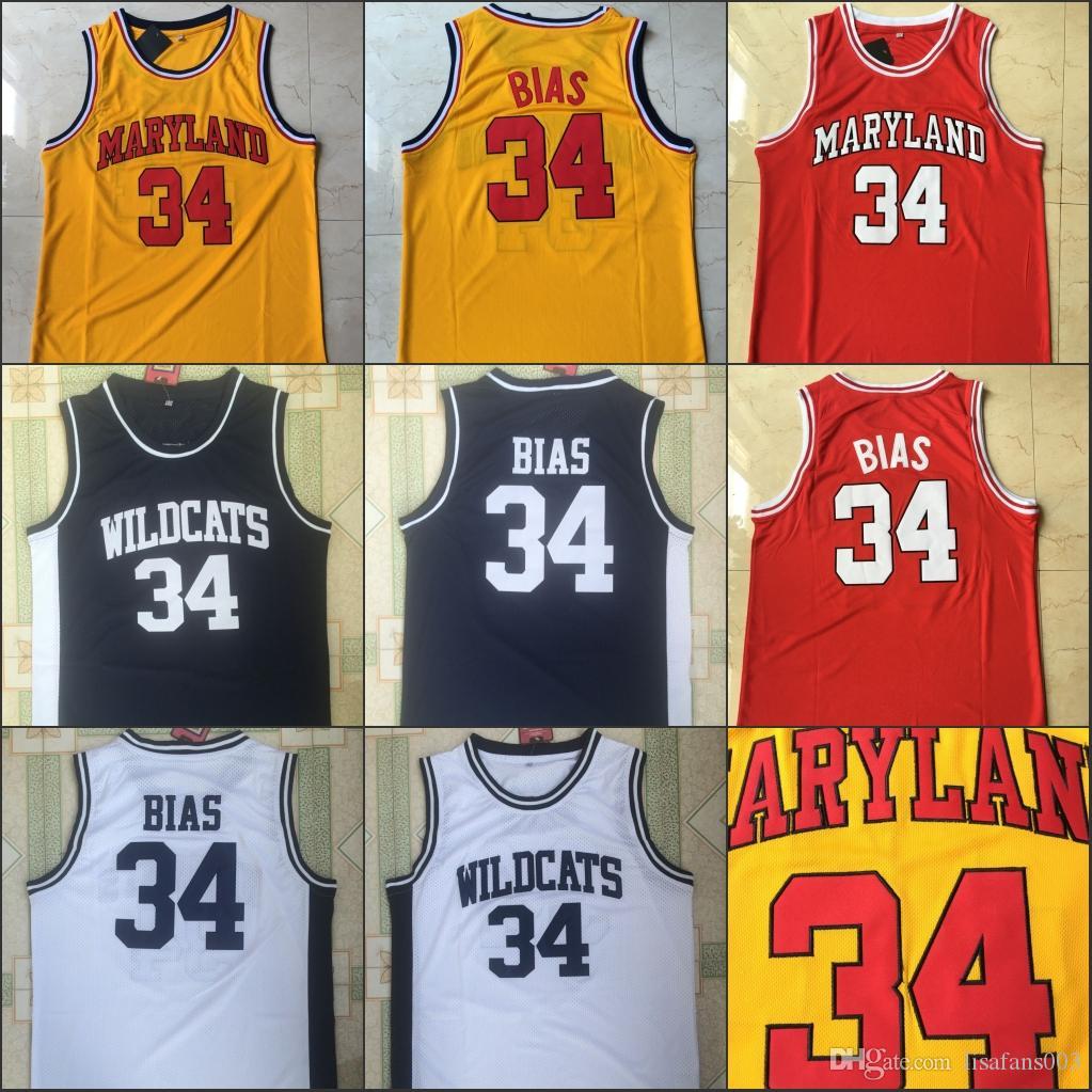 NCAA Maryland Basketball Jersey 34 Len Bias Weiß Rot Gelb Alle 100% Genähtes und Stickerei Männer Trikots