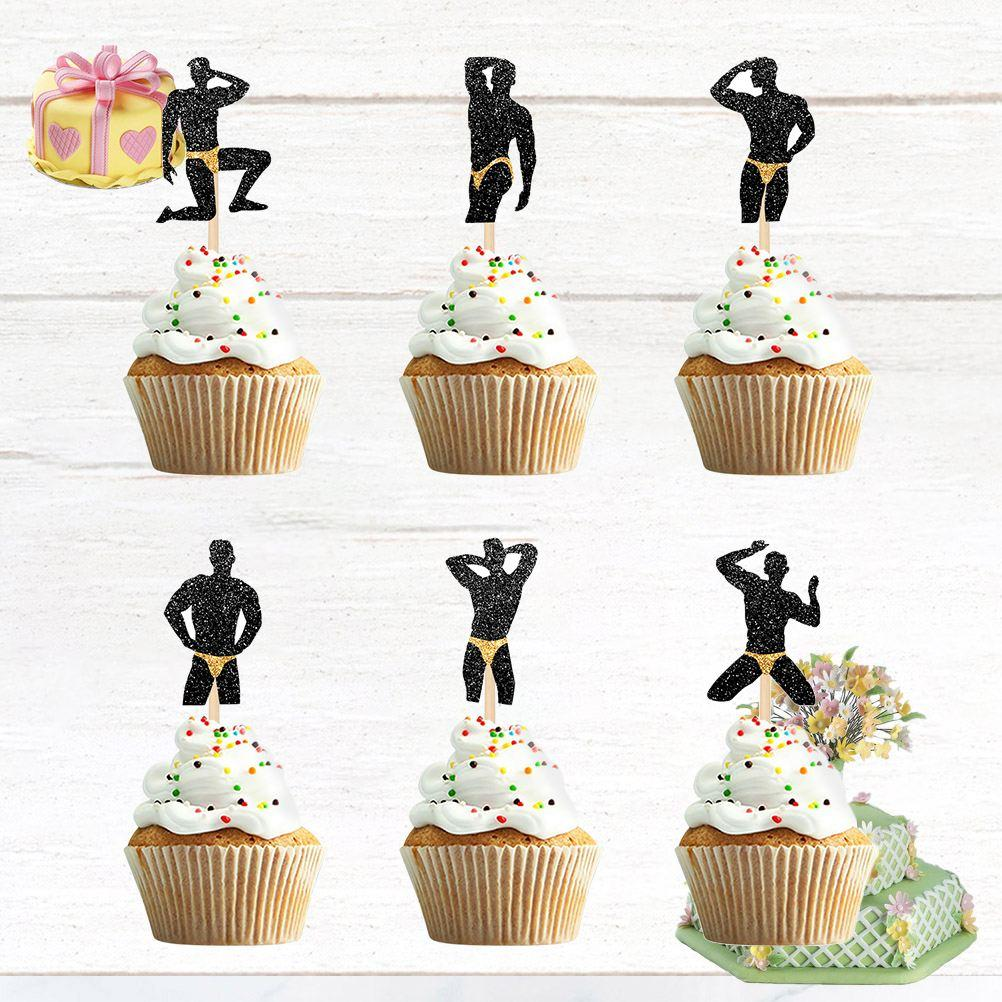 96pcs Bodybuilding Male Cake Topper Bachelor Party Cupcake Topper Cake Picks Cake Decoration Ornament For Party (Mixed Style)