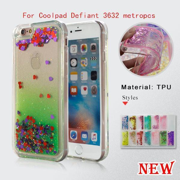 cgjxsFor Coolpad Defiant 3632 MetroPCS Für Galaxy J7 Prime Metro Pcs Quicksand Strass Fall Glitter Transparente, flüssige TPU Abdeckung