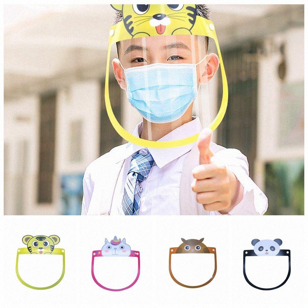 4 Estilos de seguridad de PET transparente de la cara del niño Escudo anti animal de la historieta Escupir Niebla Splash Claro reutilizable protector facial cubierta LJJP1 WAIh #