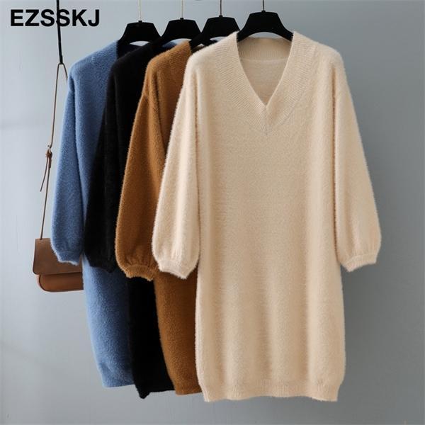 2020 sonbahar kış v yaka kısa fener kollu kalın kazak kürk kadınların Mini Kadın şık düz elbise gevşek 0922