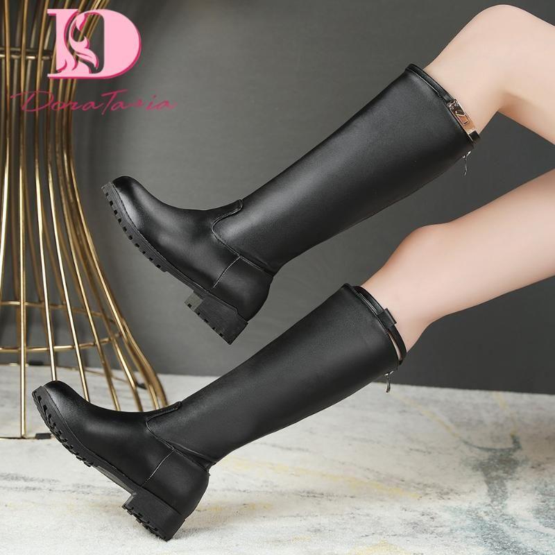Doratasia 2020 Большого размера 48 Классических квадратных каблуков Зимней обуви Женщина колено высоких сапоги для женщин езды