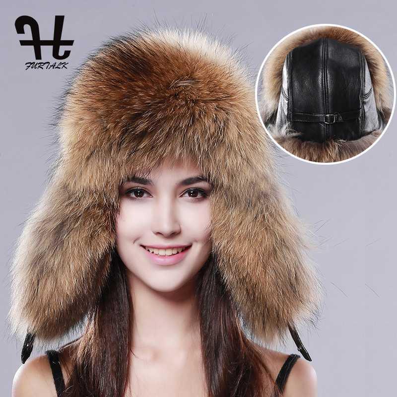 Trapper Hats Furtalk Женская русская Raincoonlamb кожаная кепка Ushanka для женщин зимний меховой шляпа ухо казачье